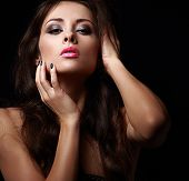 Beautiful Passion Woman Looking Hot On Black Background