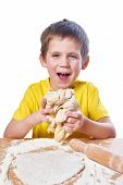 Happy Boy Kneads Dough Isolated