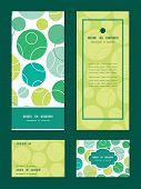 Vector abstract green circles vertical frame pattern invitation greeting, RSVP and thank you cards s