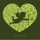 Vector abstract green natural texture shooting cupid silhouette frame pattern invitation greeting ca