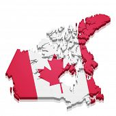 detailed illustration of a map of Canada with flag, eps10 vector