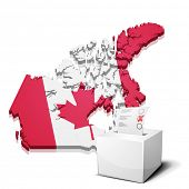 detailed illustration of a ballotbox in front of a map of Canada, eps10 vector