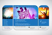 Website template with music event banner. Vector