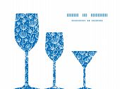 Vector blue white lineart plants three wine glasses silhouettes pattern frame