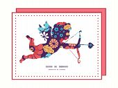 Vector colorful bouquet flowers shooting cupid silhouette frame pattern invitation greeting card tem