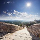 landmark of china,great wall during sunset