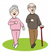 An image of two seniors walking.