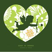 Vector green and golden garden silhouettes shooting cupid silhouette frame pattern invitation greeti