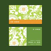 Vector green and golden garden silhouettes horizontal stripe frame pattern business cards set