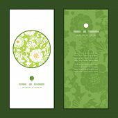 Vector green and golden garden silhouettes vertical round frame pattern invitation greeting cards se