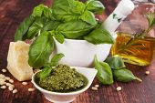 Basil Pesto. Culinary ingredients.