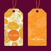 Vector golden art flowers vertical round frame pattern tags set