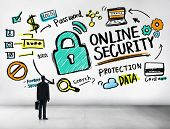 Online Security Protection Internet Safety Businessman Standing Concept