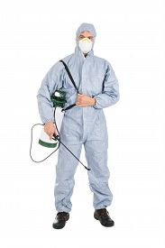 picture of pesticide  - Pest Control Worker In Protective Workwear With Pesticides Sprayer Over White Background - JPG