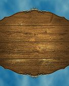 image of jade blue  - Blue frame with a background of wood - JPG