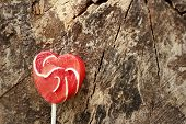 image of valentine candy  - Candy valentines hearts on a background of wooden - JPG