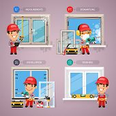 image of carpenter  - Window Installation Step by Step with Handyman Carpenter - JPG