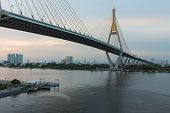 image of suspension  - Suspension bridge Bhumibol bridge river front view - JPG