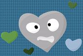 picture of heartbreaking  - Nervous blue heart face cartoon over halftone - JPG