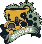 image of steampunk  - illustration Steampunk hat with goggles for work on a white background - JPG