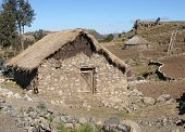 picture of ethiopia  - Traditional homes in the upland of Amhara, Ethiopia, Africa