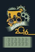 stock photo of steampunk  - poster with the image of a calendar for 2016 in the style of steampunk - JPG