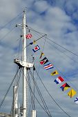 pic of mast  - Mast of the ship and maritime signal flags - JPG