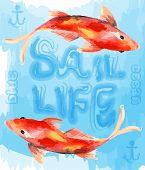 pic of goldfish  - illustration cute goldfish vector graphic design style - JPG