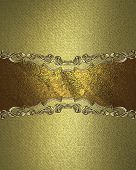 picture of nameplates  - Grunge gold background with gold nameplate and decorative trim - JPG