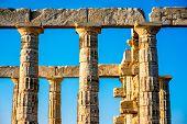 image of poseidon  - Architectural fragments of Poseidon temple in Sounion - JPG