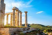 picture of poseidon  - Poseidon temple landmark at the sunset in Sounion - JPG