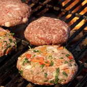 image of bbq party  - Minced Beef Pork Mutton Burgers On The Hot BBQ Grill Background Closeup - JPG