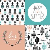 pic of indian  - Seamless pineapples and cactus arrows illustration background pattern and summer love indian summer postcard cover design template in vector - JPG