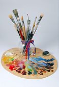 Artist'S Palette And Brushes