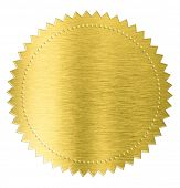 stock photo of gold medal  - gold metal foil sticker seal label isolated with clipping path included - JPG