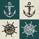 stock photo of ship steering wheel  - Doodle style ships anchor and wheel illustration in vector format - JPG