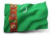 stock photo of turkmenistan  - Waving flag of Turkmenistan isolated on white background - JPG