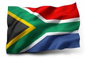 picture of waving  - Waving flag of South Africa isolated on white background - JPG