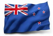 picture of waving  - Waving flag of New Zealand isolated on white background - JPG