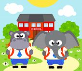 stock photo of hippopotamus  - Back to school vector background with elephant hippopotamus - JPG