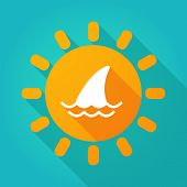 stock photo of fin  - Illustration of a sun icon with a shark fin - JPG