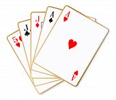 image of poker hand  - The poker hand two pair over a white background - JPG