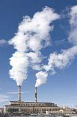 Power Plant Producing White Smoke