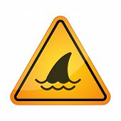 picture of fin  - Illustration of a danger signal icon with a shark fin - JPG