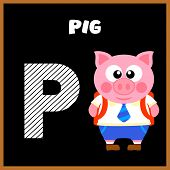 picture of letter p  - The English alphabet letter P Pig  - JPG