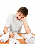 picture of compose  - Cheerful Young Man compose a Letter on the White Background - JPG