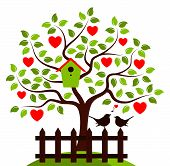 stock photo of bird-nest  - vector heart tree with nesting bird box and picket fence with couple of birds isolated on white background - JPG