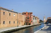 stock photo of arsenal  - Venice Arsenale historic shipyard Gate and Canal View - JPG