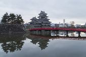 picture of castle  - This photo was shot from Matsumoto Castle Japan in early morning - JPG