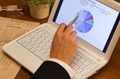 stock photo of anal  - Analizing graphs with financial data on laptop computer - JPG